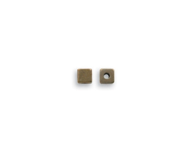 10 pieces 3mm Brass Cube Spacer Bead Vintaj Natural Brass Item BD190