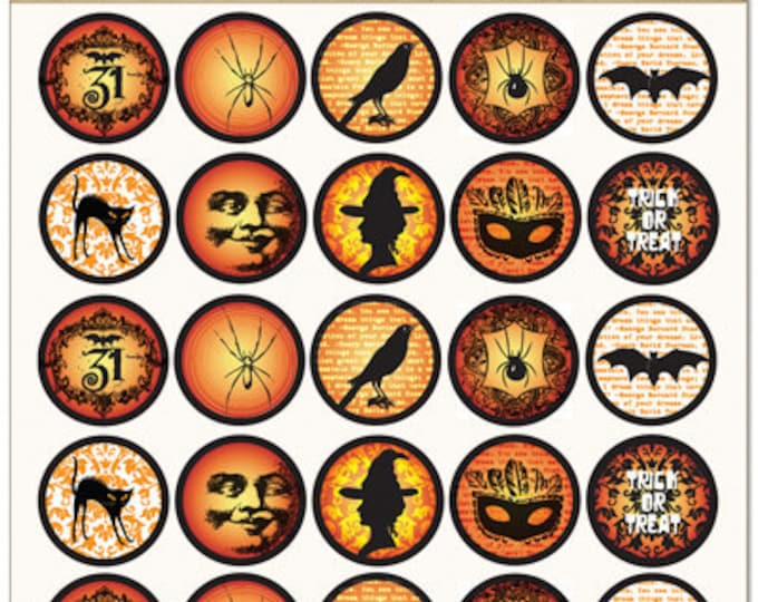 "Vintage Halloween Images, 1"" round by  Bottle Cap inc.  Scrapbooking supplies"
