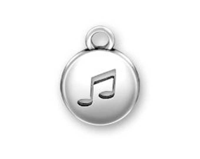 Sterling Silver MUSICAL NOTE domed round charm