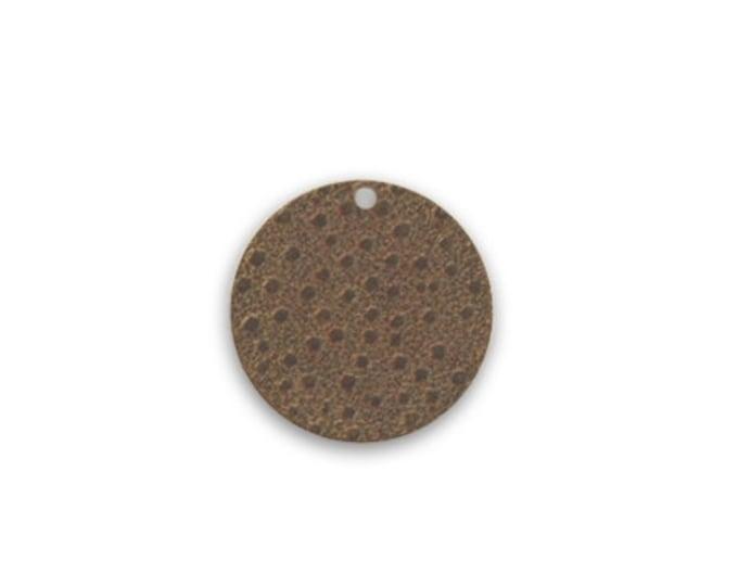 6 pieces Embossed Dots Brass Charm, 14mm Round Brass Charm, Vintaj Natural Brass, P300