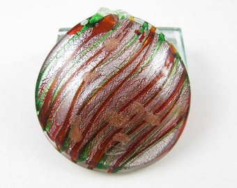 Large Red Green and Silver Glass Pendant
