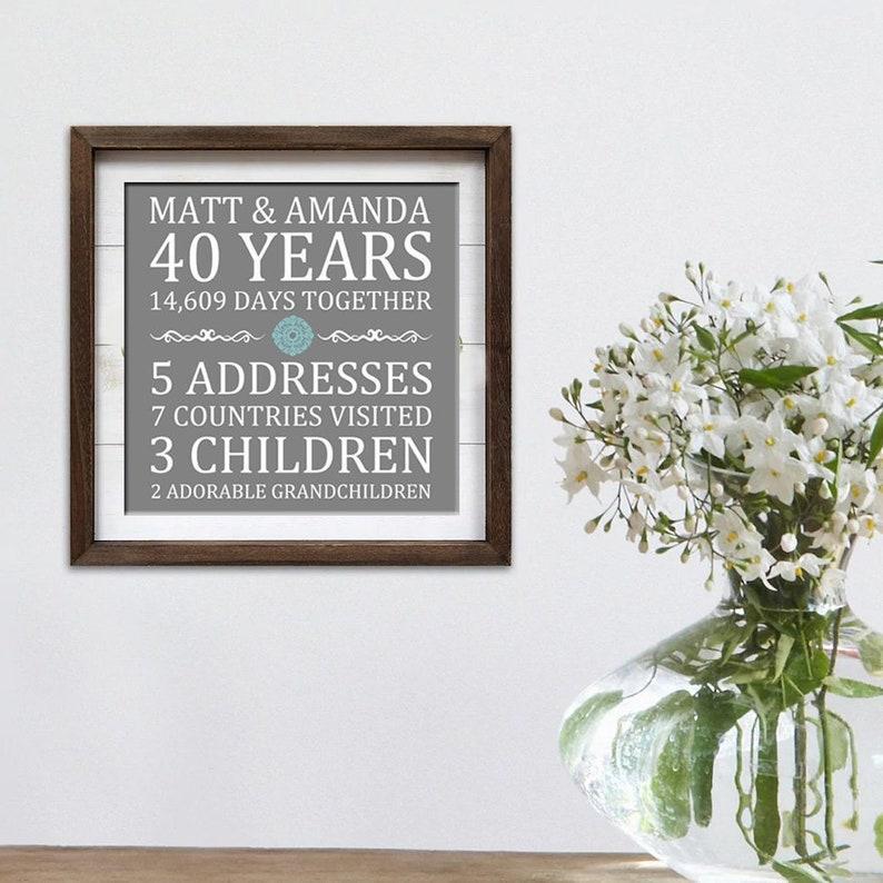 Printable Parent's Gift  Family Name Print  Wedding image 0
