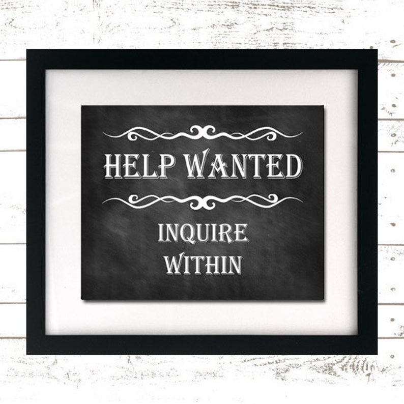Help Wanted Sign  Help Wanted Print  Inquire Within  image 0