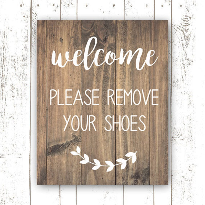 Wood-Look Welcome Sign  Please Remove Your Shoes Print  image 0