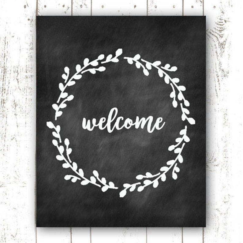 Chalkboard Printable Welcome  Welcome Printable  Instant image 0