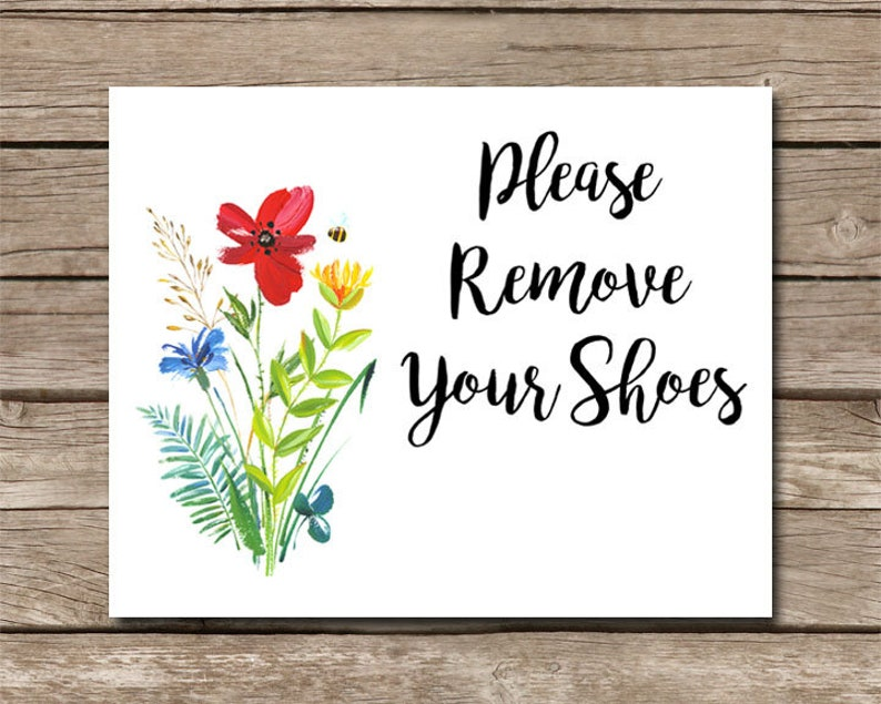 Welcome Sign  Please Remove Your Shoes Print  Remove Shoes image 0