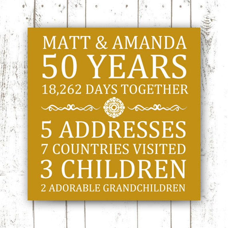 Printable Custom Anniversary Print  50th Anniversary  Golden image 0