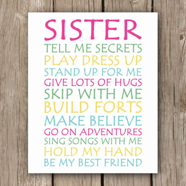 Sister Love  INSTANT DOWNLOAD  Sister Wall Art Print  image 0