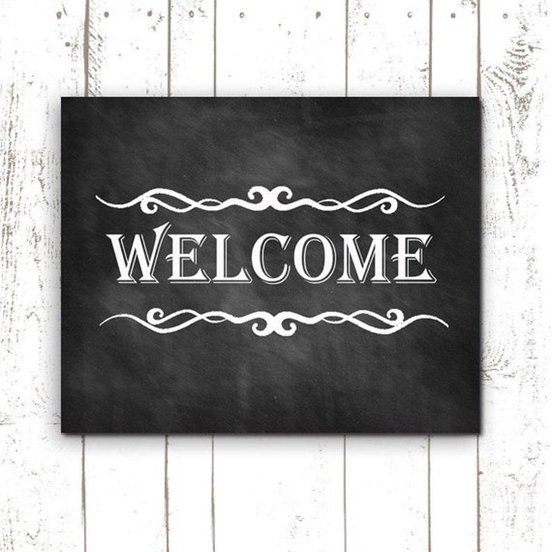 Printable Welcome Sign  Chalkboard Sign  Housewarming Gift  image 0