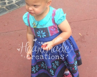 Frozen Toddler Elsa Costume Dress with Peter Pan Collar - Princess Inspired Dress - Sizes 12/18 months through 6