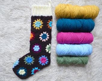 Crochet Christmas Stocking Pattern: Puff Flower Hexagon Stocking