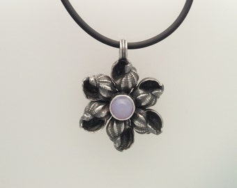 Conch Flower Necklace with Lavendar Chalcedony