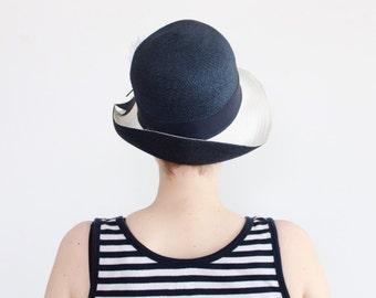cloche hat // floppy hat // navy blue and white hat