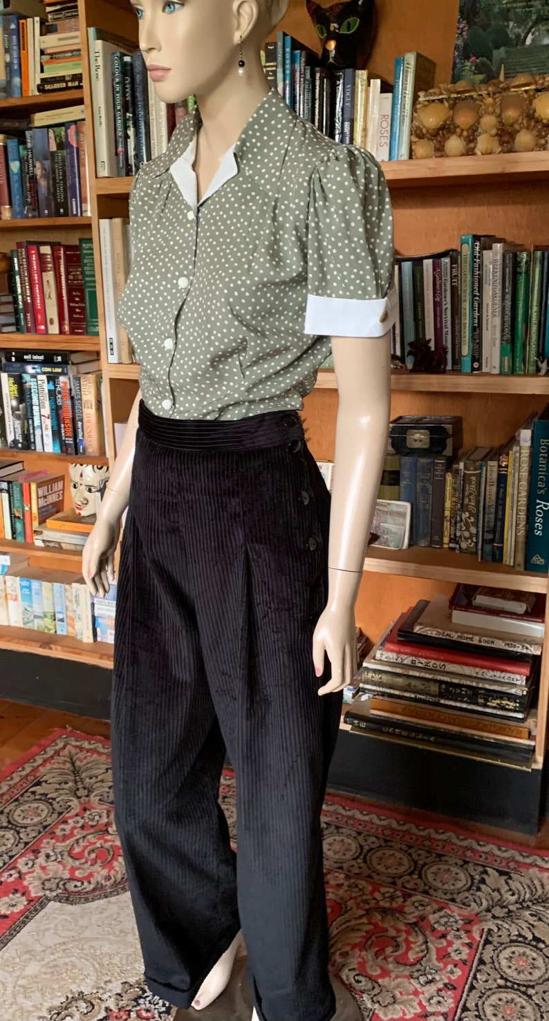 1930s Wide Leg Pants and Beach Pajamas     Ready to ship / 1930s Style Pleated and Cuffed Pants with side buttons/ thirties /corduroy/ handmade / OOAK / 30s / 40s / black $91.72 AT vintagedancer.com