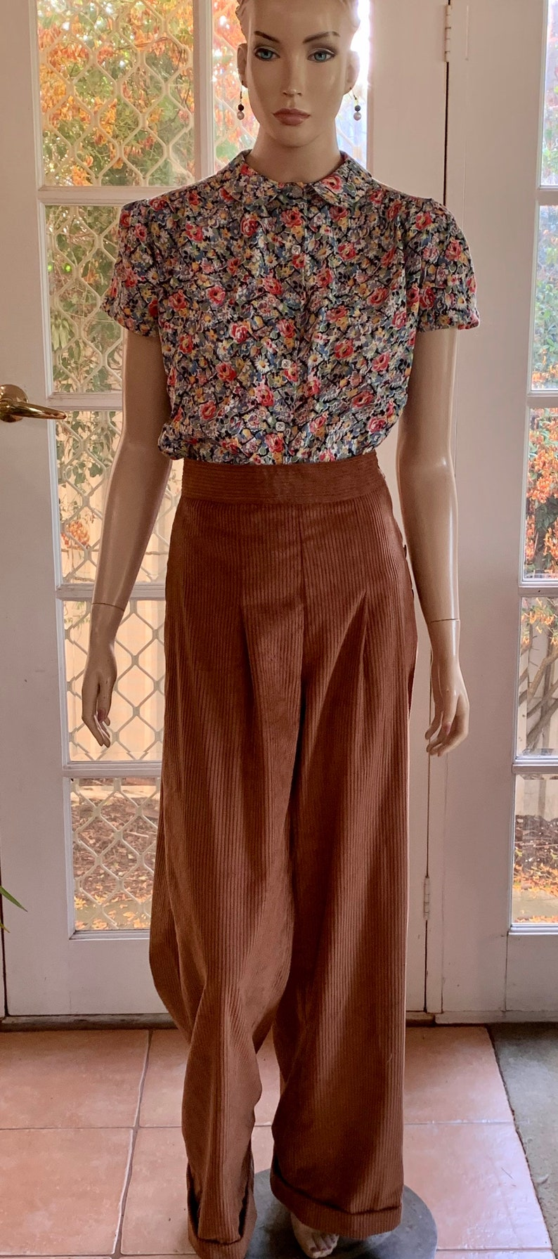 1930s Wide Leg Pants and Beach Pajamas Order / 1930s Style Pleated and Cuffed Pants with side buttons/ thirties /corduroy/ handmade / OOAK / 30s / 40s $91.72 AT vintagedancer.com
