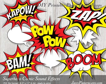 Superhero Sound Effects printable photo booth props in incredible red, black and yellow PP025 instant download