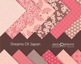 Dreams Of  Japan digital paper pack in pink and brown for scrapbooking DP003 instant download