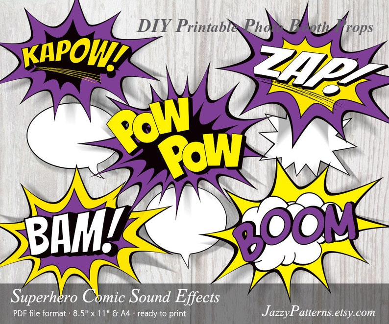 Superhero Comic Book Sound Effects printable photo booth props in purple,  yellow and black PP024 instant download