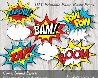 DIY Comic Book Sound Effects printable photo booth props, superhero birthday decoration party printable