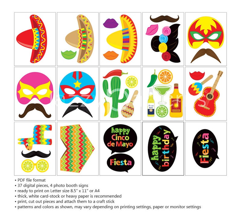 picture about Cinco De Mayo Printable Decorations known as Fiesta birthday occasion decorations, Cinco de Mayo printable image booth props, sombrero, luchador mask, pinata, maracas, Mexican design and style