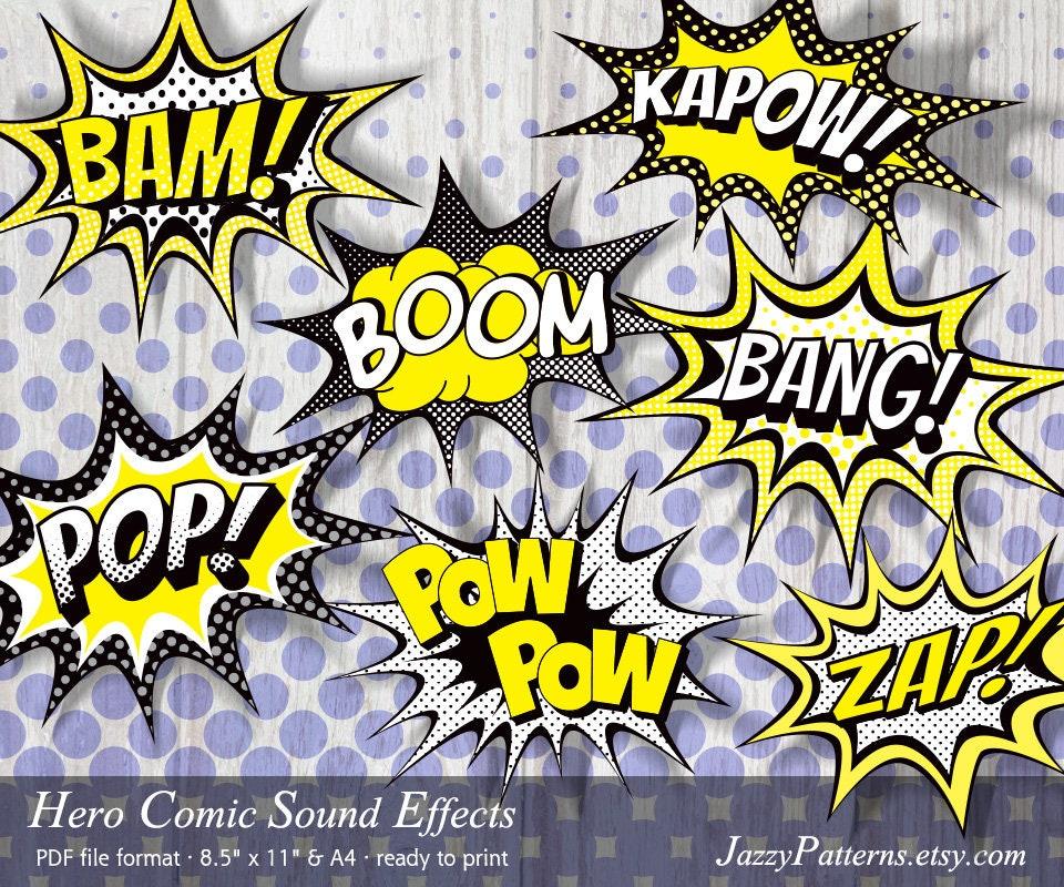 Superhero comic balloons POP!, BANG!, BOOM, Bam!, Pow Pow, Kapow! printable  photo props for party decor or baby shower