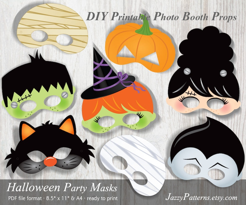 graphic relating to Halloween Photo Booth Props Printable called Printable Halloween masks, photograph booth props, young children monster masks, mummy prop, cat, witch, vampire, pumpkin, quick down load Do it yourself