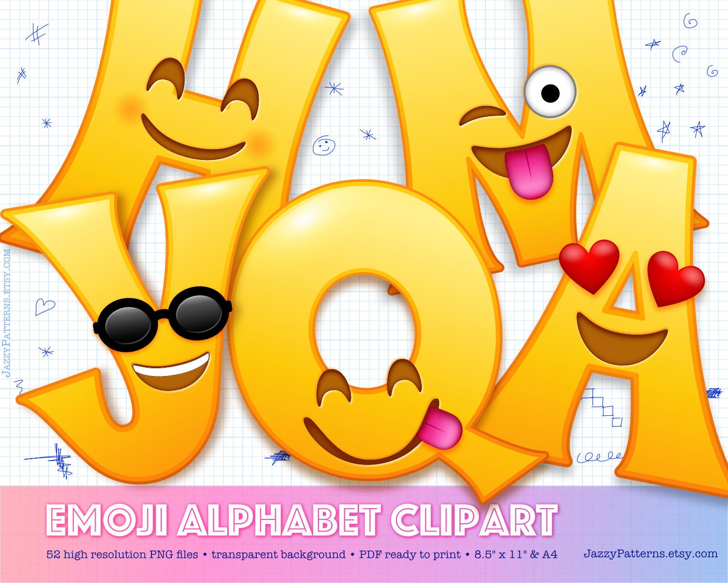 Emoji Alphabet Clipart Smiling Face Letters For Diy Birthday Etsy Jpg 1500x1200 Party Transparent