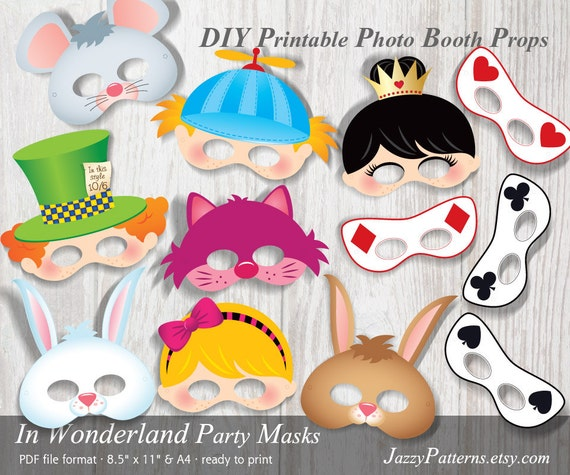 alice in wonderland kids mask printables photo booth props etsy