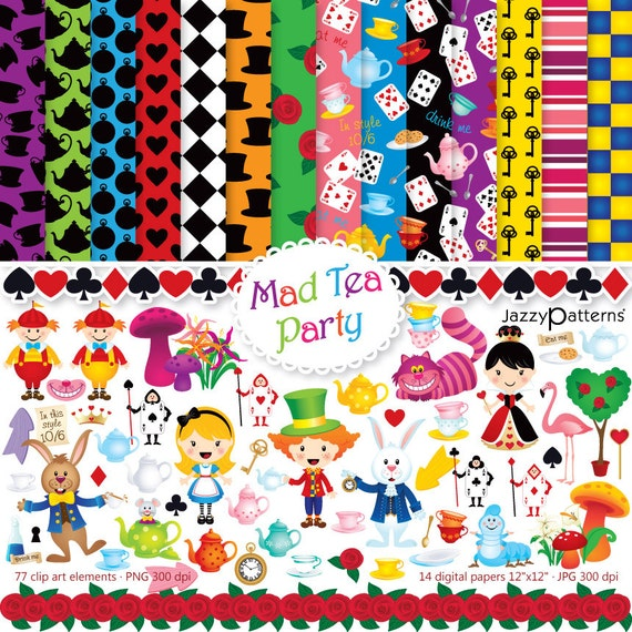 Alice In Wonderland Clipart And Digital Papers For Tea Etsy