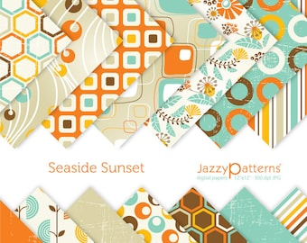 Seaside Sunset digital paper pack fpr scrapbooking DP085 instant download