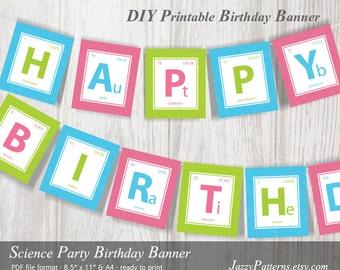 DIY Science Party printable banner phrase Happy Birthday