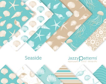 Seaside digital paper pack for scrapbooking DP076 instant download