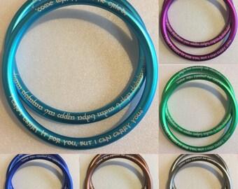 457ab0f7ecfe Venez Monsieur Frodon - LoTR gravé en Aluminium (aluminium) anneaux Sling -  taille L (3,5 pouces) sans frais de port