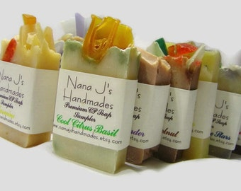 Guest Soap Samples. U choose 6 sample soaps. .Ea. 2.1-2.5 oz. Goats Milk Soaps, Great party favors. Made by Nana J's Handmades.Free Shipping