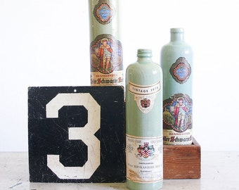 3 Vintage Ceramic Wine Bottles / Instant Collection / Rustic Farmhouse Decor