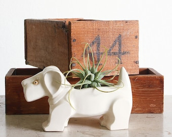 Vintage Ceramic Scottie Dog Planter / Retro Gardening