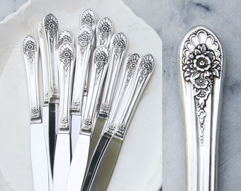 12 Vintage Silver Plate Dinner Knives / Hollow Handle Knife / Fancy Floral Pattern / Summer Entertaining