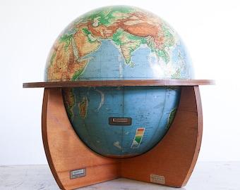 1950's Denoyer Geppert Cartocraft Educational World Globe / Mid Century Wooden Base
