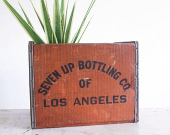Vintage Wooden 7up Crate / 1970's Industrial Decor / Rustic Storage Solution