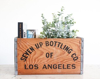 Vintage 7up Crate / 1950's Industrial Decor / Urban Farmhouse / Wooden Soda Crate / Los Angeles