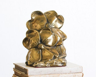 1960's Vintage Brass Bookends / Hollywood Regency Decor / Floral Bookends