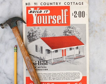 DIY Build it Yourself Country Cottage Pattern / 1950's Easi-bild / Small Home Construction
