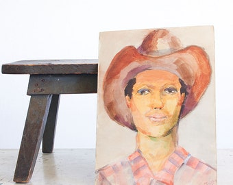 Vintage Portrait of a Man / Watercolor Painting / Original 1970's Outsider Art / Double Sided