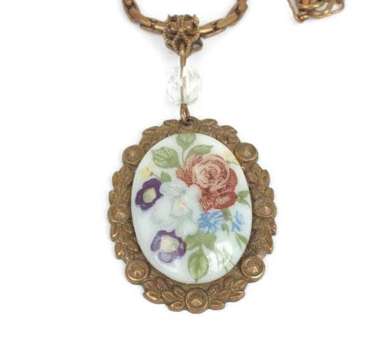 Vintage Floral Porcelain Pendant Necklace Floral Brass Setting Czech Vintage Necklace
