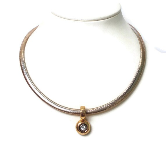 CZ Slide Choker Necklace Flexible Snake Chain Signed MOD Vintage