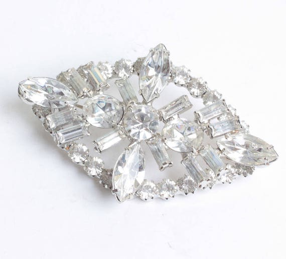 Juliana Clear Rhinestone Crystal Brooch from Original  DeLizza and Elster Design