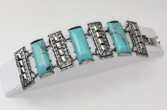 Chunky Faux Turquoise Bracelet Silver Tone Links 1960s Southwestern Boho