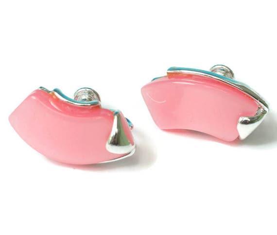 Pink Lucite Earrings Star Mark Screw Back 1950s Vintage Mid Century Modern