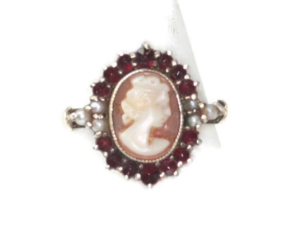 Cameo Ring Bohemian Garnets Seed Pearls 900 Silver Approximate Size   6 1/2