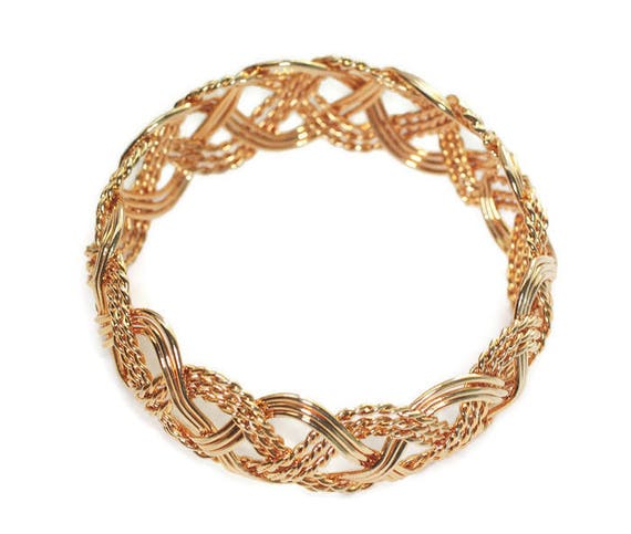 Woven Design Bangle Bracelet Gold Tone Bold Chunky Vintage